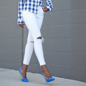 J Brand White Distressed Skinny Jeans